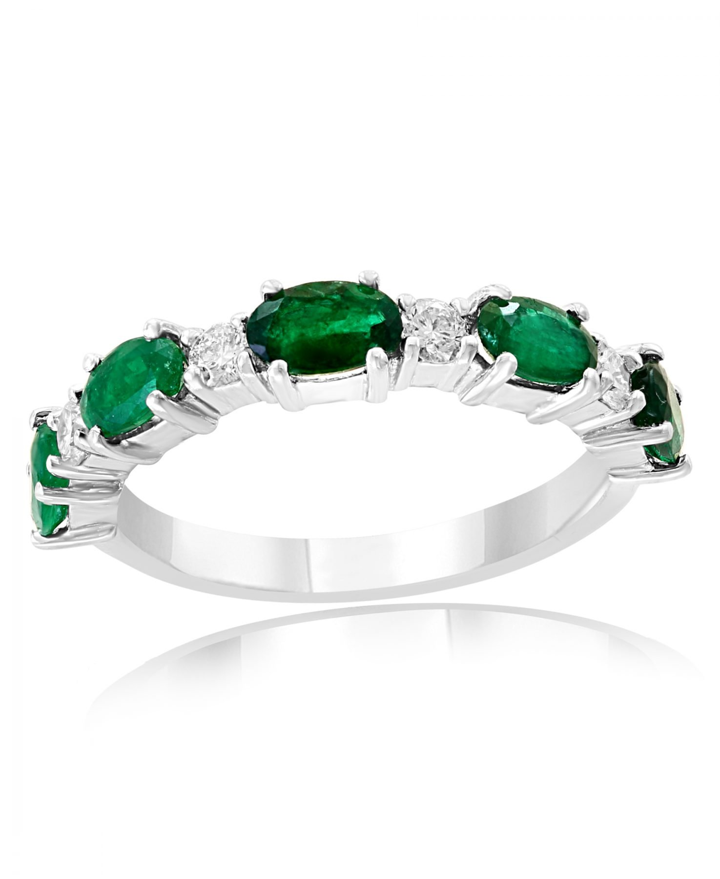 Emerald & Diamond Oval Anniversary Band