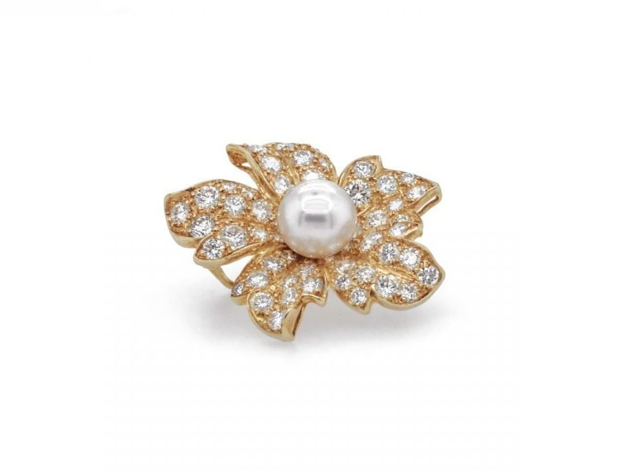 18k Yellow Gold 2.00 Carat Diamond & Pearl Brooch