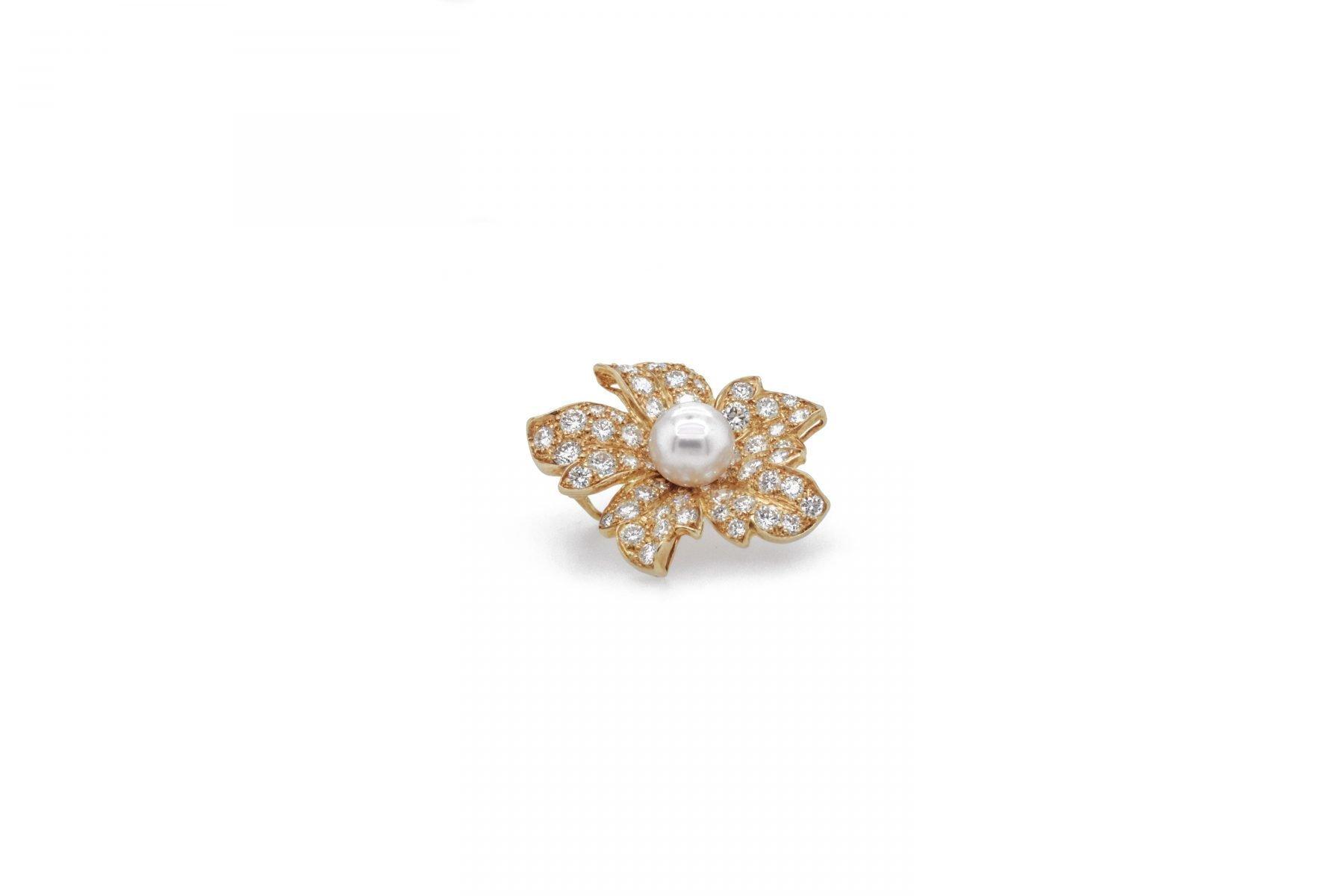 Diamond & Pearl Brooch