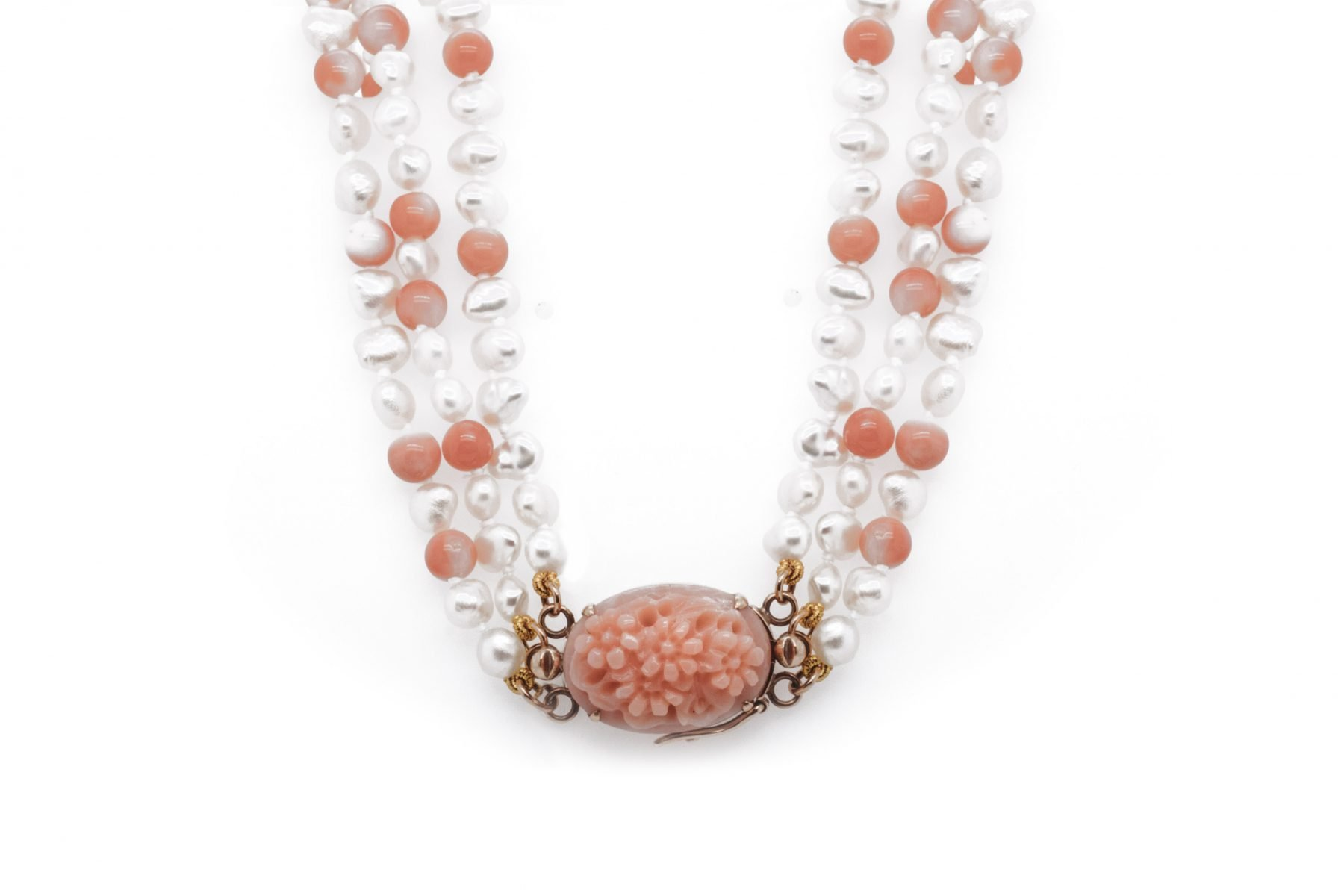 14kyg Pearl and Coral Bead Necklace