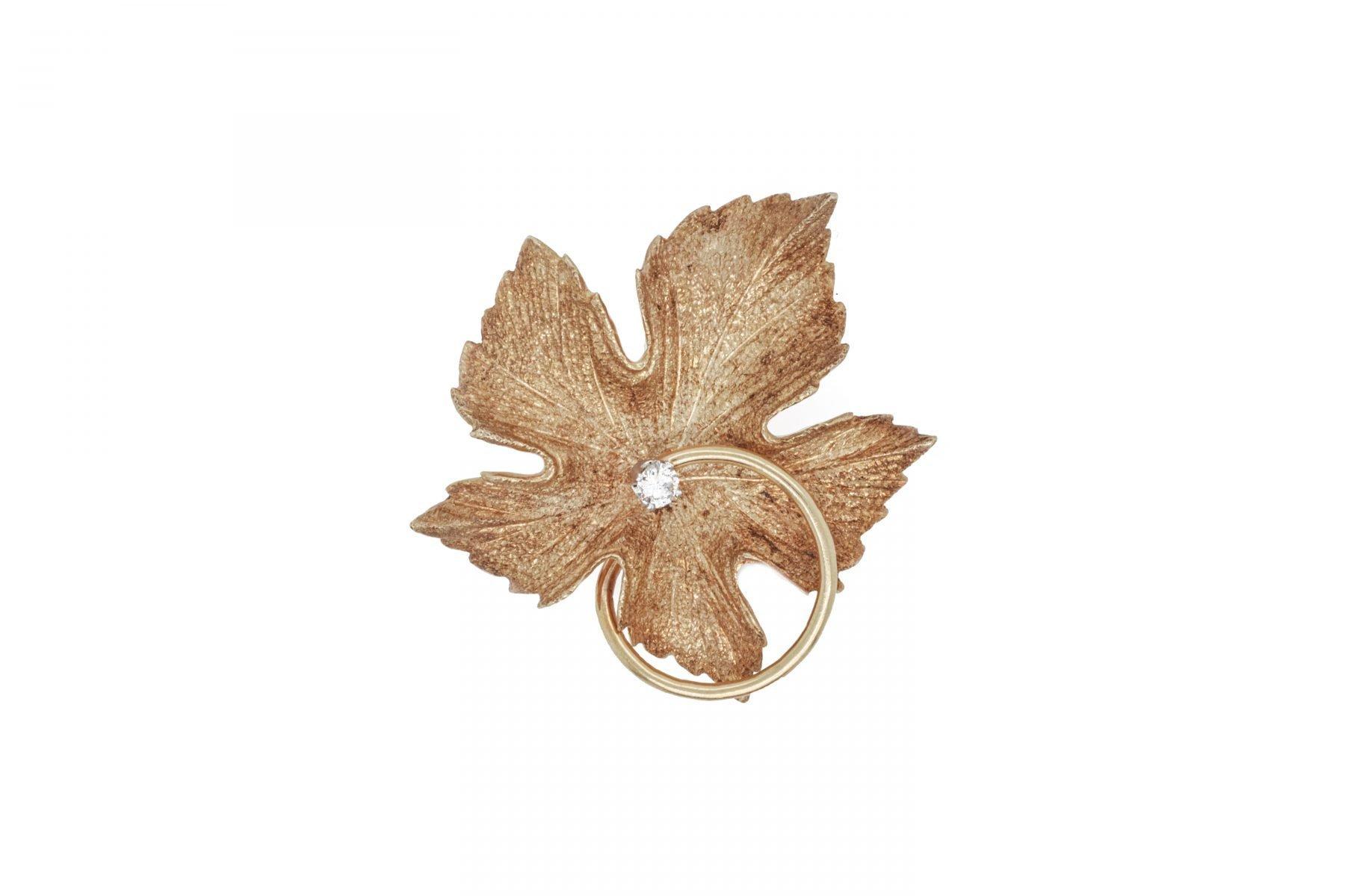 Diamond Leaf Pin