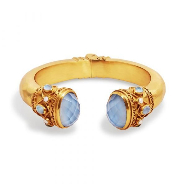 gold hinge cuff with brightly colored gemstones