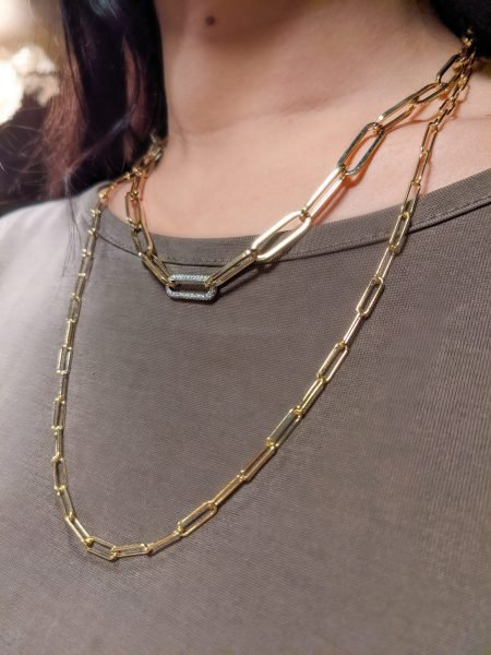 gold paperclip chain layered necklaces