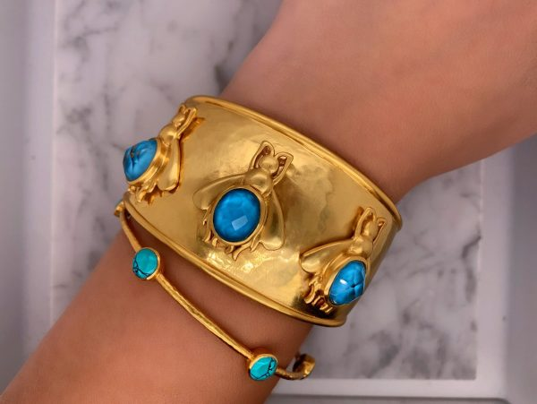 gold turquoise bee cuff with gold turquoise bangle