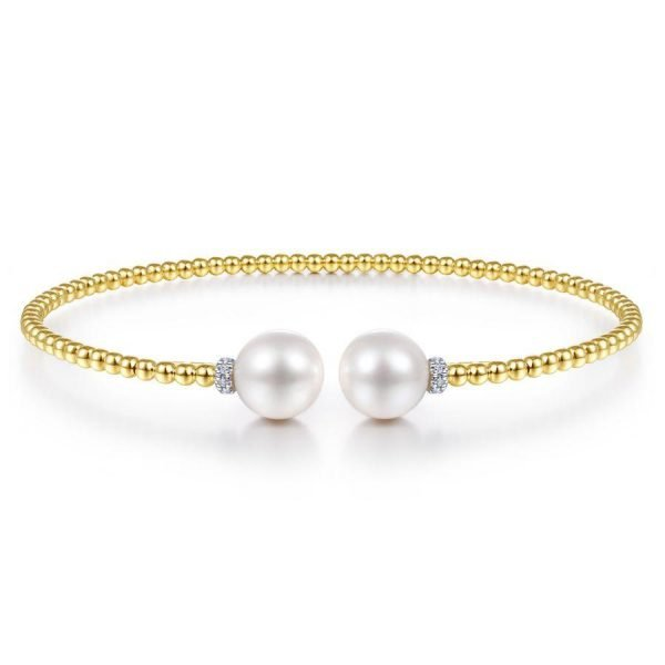gold beaded bracelet cuff with pearl and diamond accents