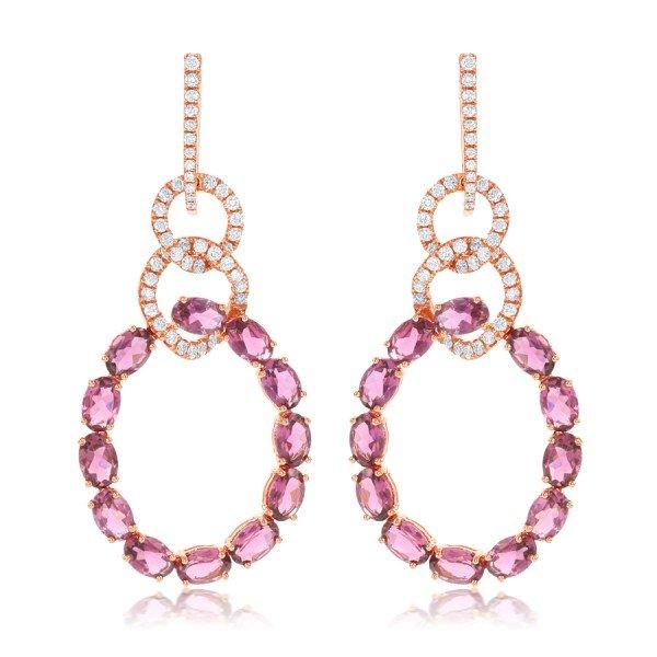 diamond earrings with pink tourmaline gemstone hoops