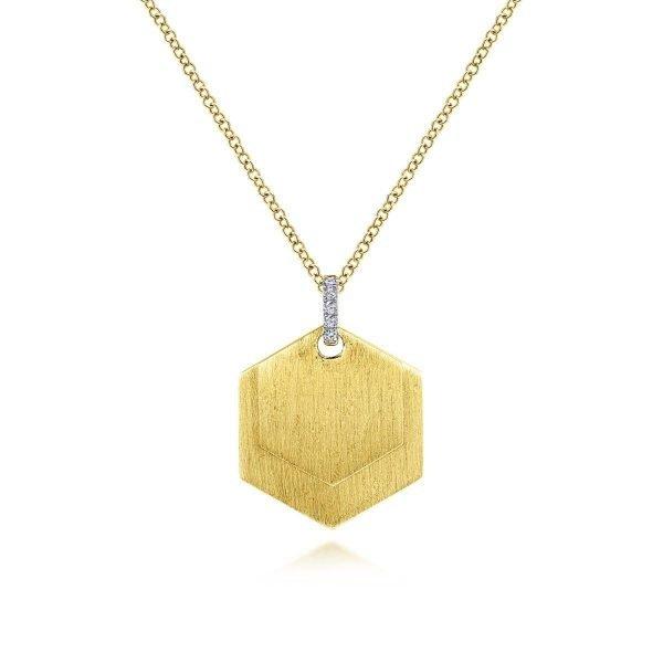 gold pendant hexagonal engravable necklace