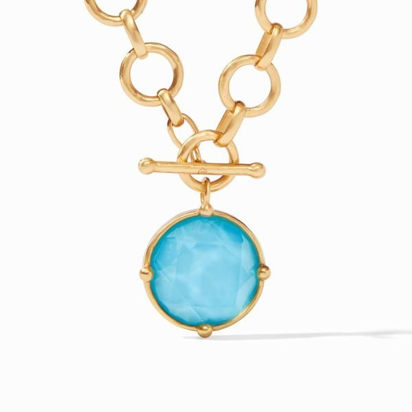 gold chain statement necklace with pacific blue turquoise pendant