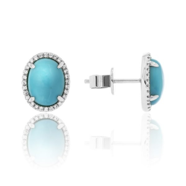 turquoise and diamond studded earrings