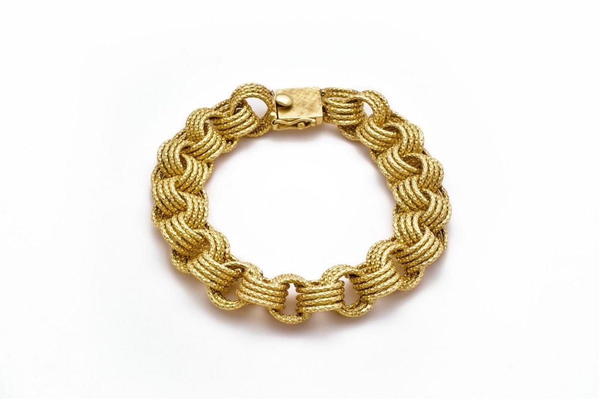14K YELLOW GOLD 4 LINK INTERLOCKING CHARM BRACELET 8″
