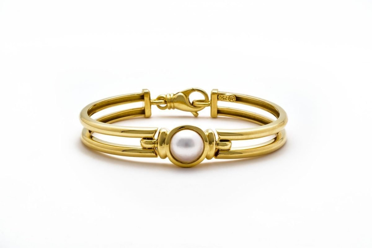 18K YELLOW GOLD MABE PEARL OPEN LINK BRACELET