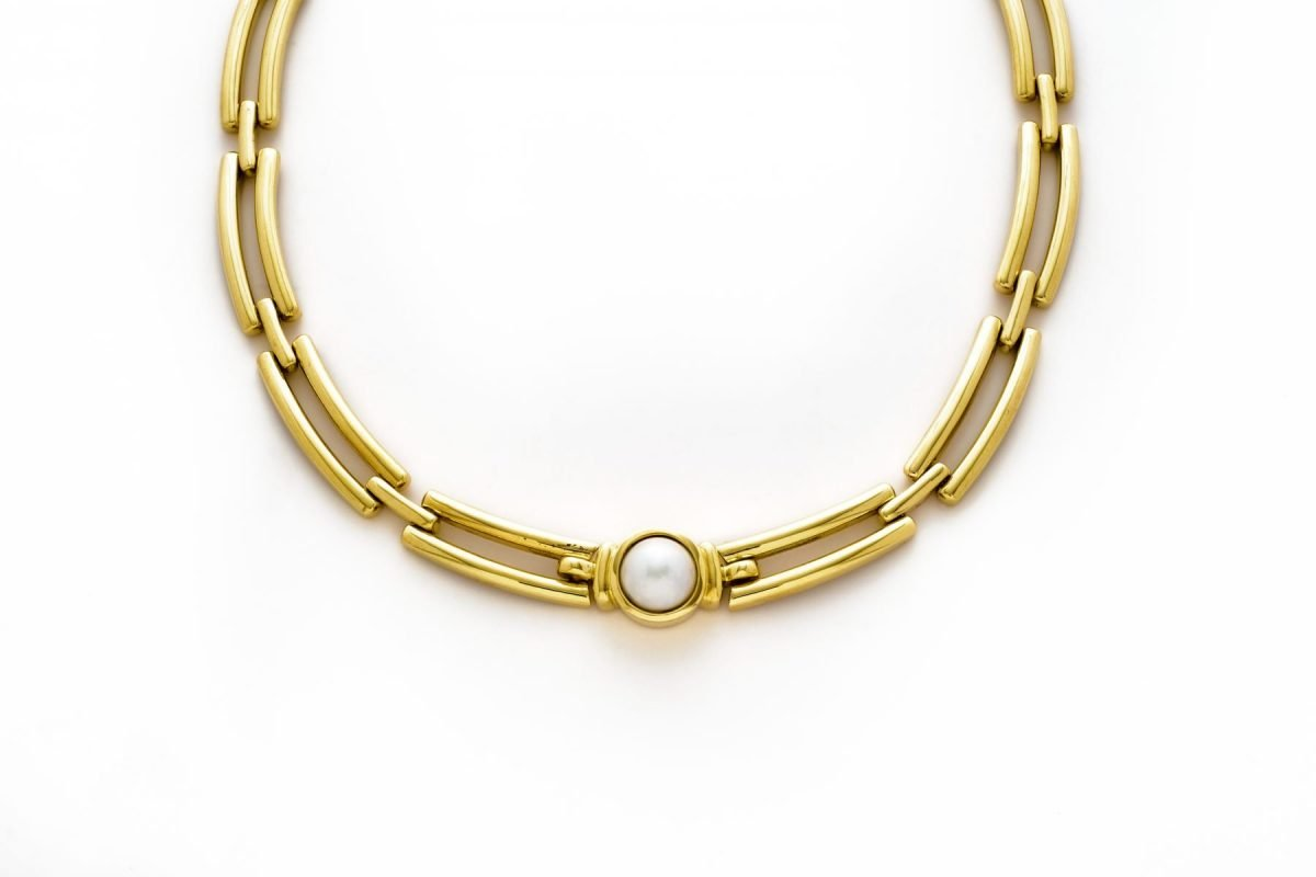 18K Yellow Gold  16″ 10mm Mabe Pearl Necklace
