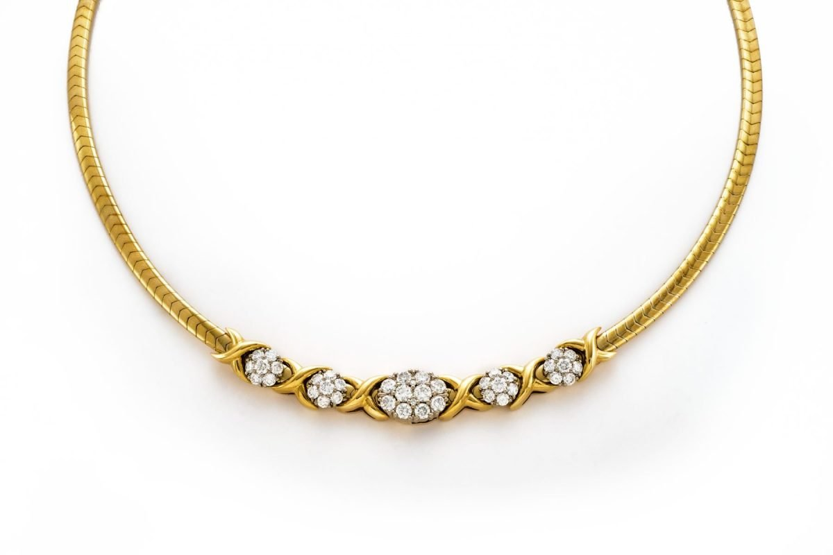 Jabel 14k Yellow Gold Omega and Diamond Necklace 16″-18″ Inches